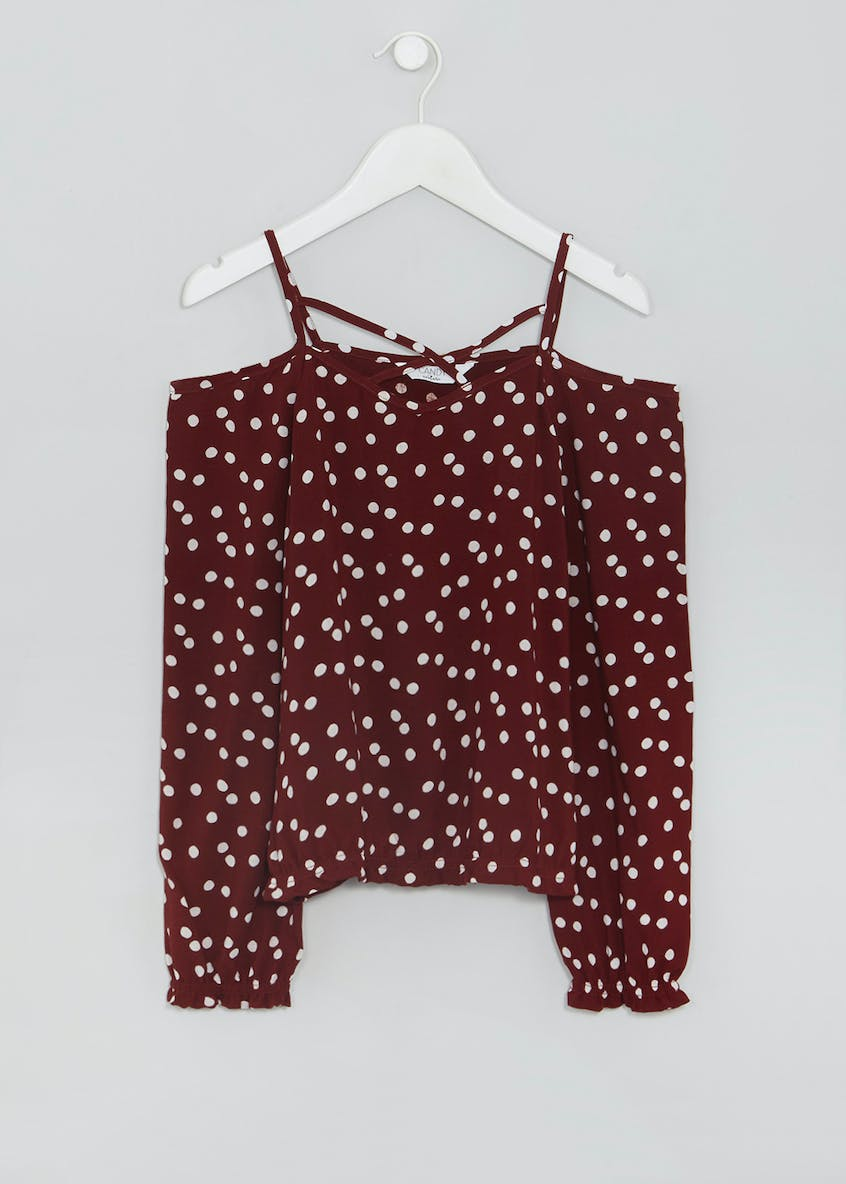Girls Candy Couture Polka Dot Cold Shoulder Top (9-16yrs)