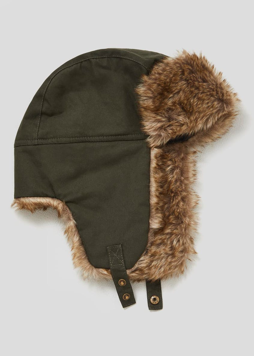 Faux Fur Lined Waxed Trapper Hat
