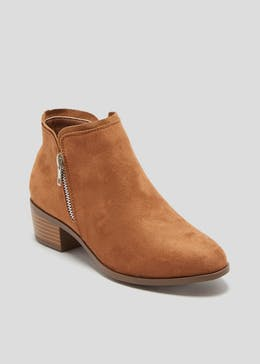 Side Zip Western Ankle Boots