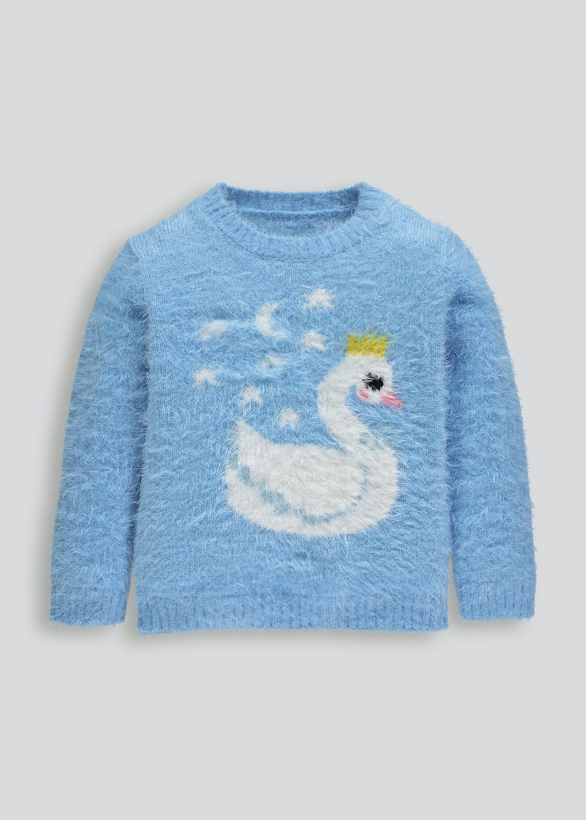 Girls Swan Eyelash Knit Jumper (12mths-6yrs)