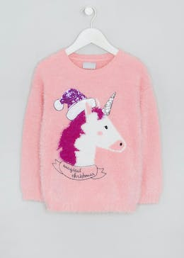 Kids Unicorn Fluffy Christmas Jumper (4-13yrs)