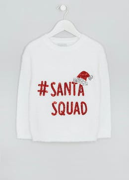 Kids Santa Squad Fluffy Christmas Jumper (4-13yrs)