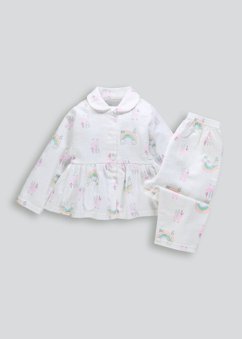 Girls Llama Unicorn Brushed Cotton Pyjama Set (12mths-5yrs)