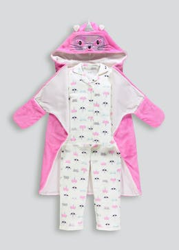 Kids 3 Piece Cat Unicorn Pyjamas & Dressing Gown Set (4-13yrs)