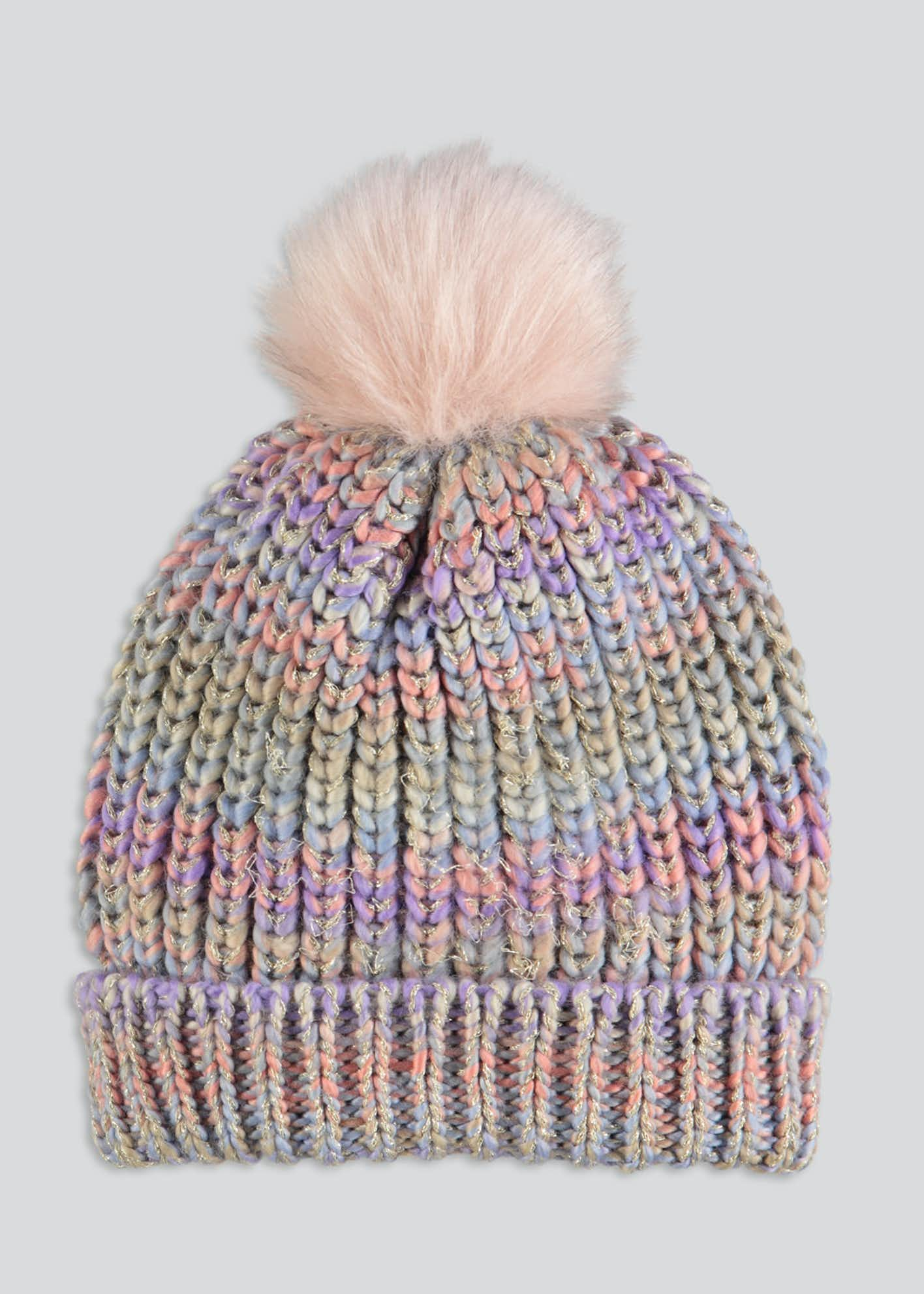 Girls Rainbow Space Dye Bobble Hat (3-13yrs)