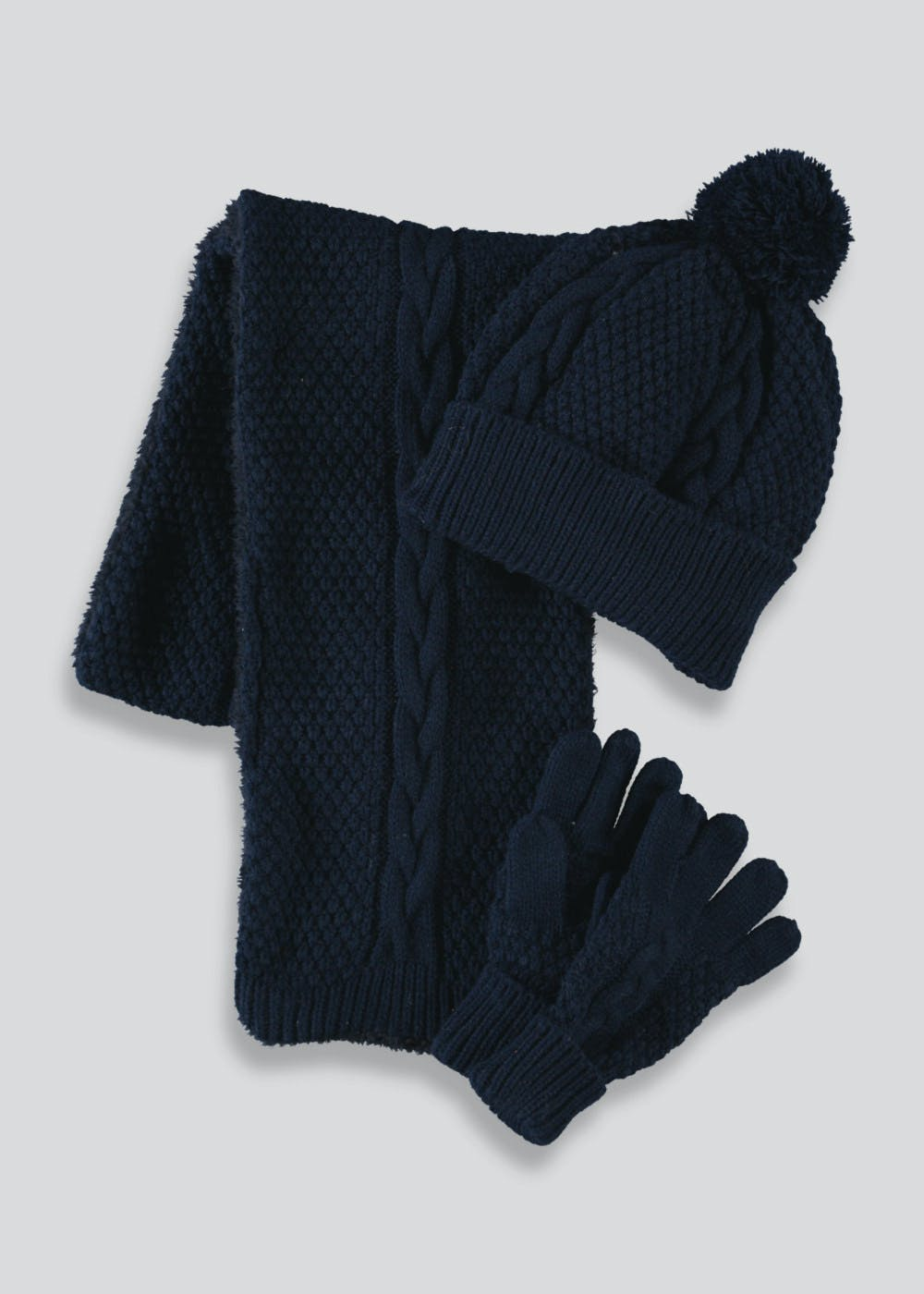 32b69aeb Kids Hat Scarf & Gloves Set (3-13yrs) – Navy – Matalan
