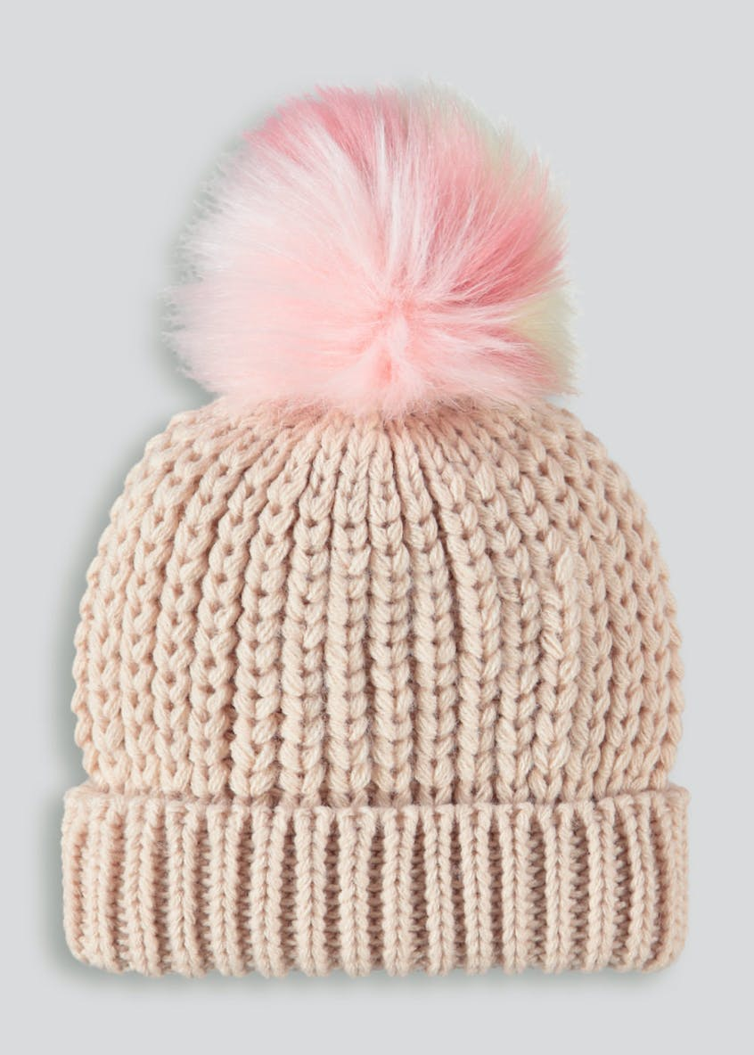 Girls Faux Fur Bobble Hat (6mths-4yrs)