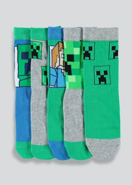 Kids 5 Pack Minecraft Socks (Younger Kids 9-Older Kids 6.5)