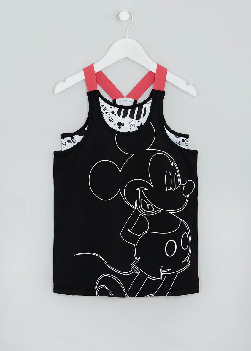 Girls Souluxe Disney Mickey Mouse 2 in 1 Sports Vest (9-13yrs)