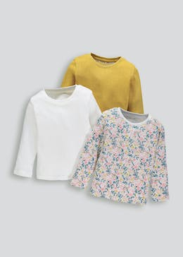 Girls 3 Pack Long Sleeve Tops (3mths-6yrs)