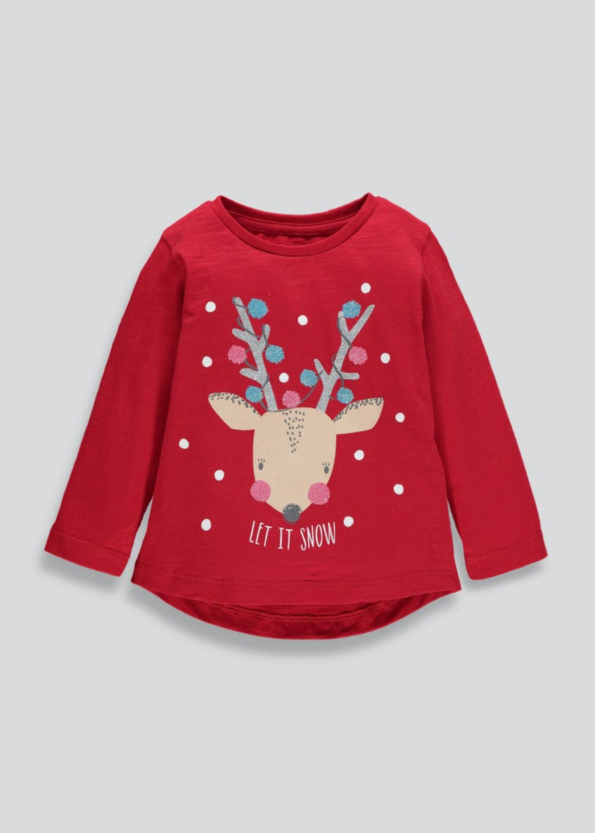 Kids Let it Snow Reindeer Christmas T-Shirt (3mths-6yrs)
