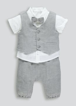 Boys Shirt with Bow Tie Waistcoat & Trousers 4 Piece Set (Newborn-18mths)