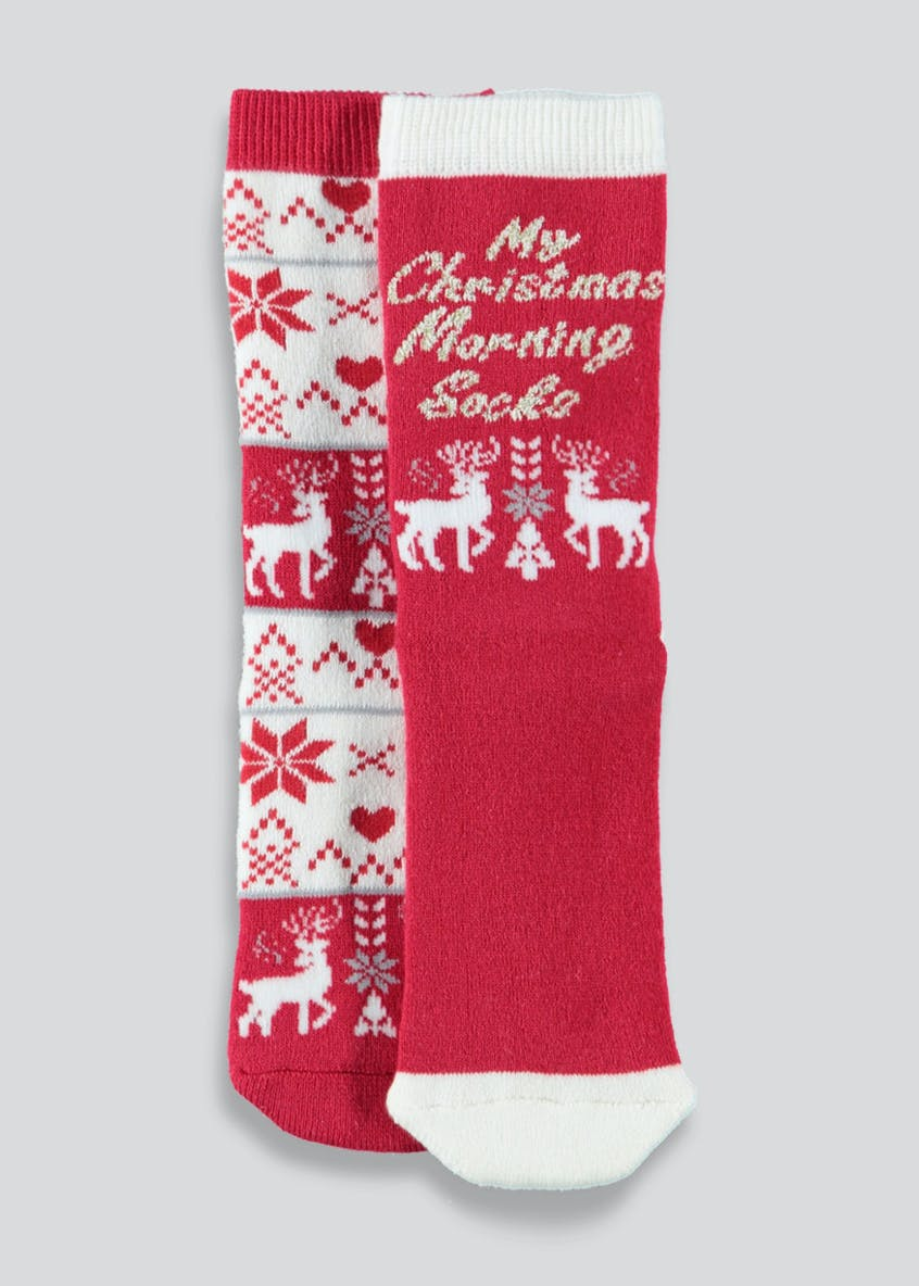 Kids 2 Pack Christmas Morning Slipper Socks (Younger 6-Older 5.5)