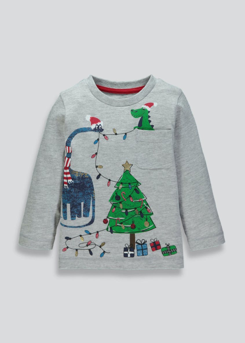 Kids Dinosaur Christmas T-Shirt (9mths-6yrs)