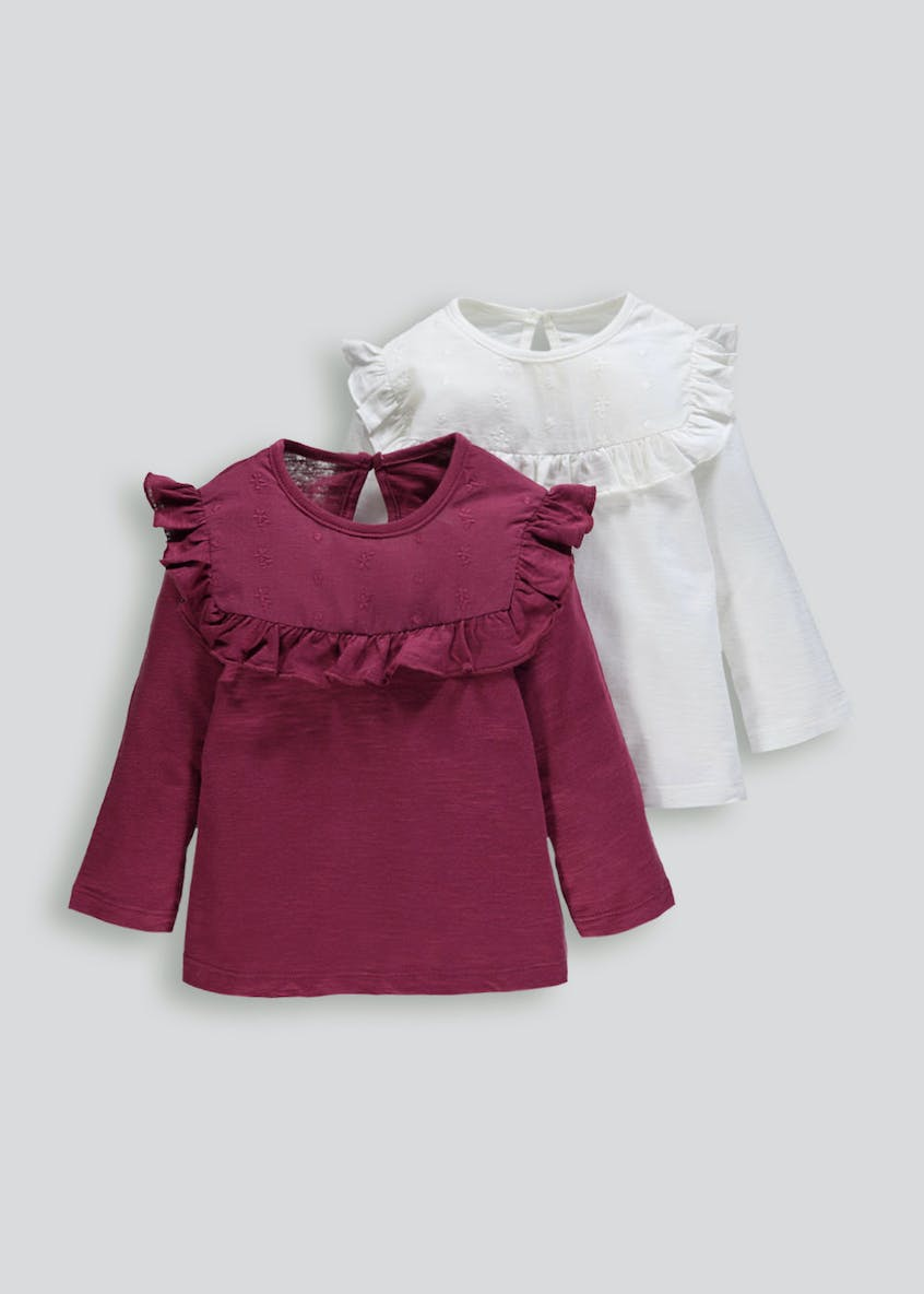 Girls 2 Pack Frill T-Shirts (3mths-6yrs)