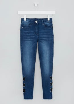 Girls Candy Couture Lace Up Hem Jeans (9-16yrs)
