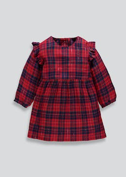Girls Check Ruffle Christmas Dress (3mths-13yrs)