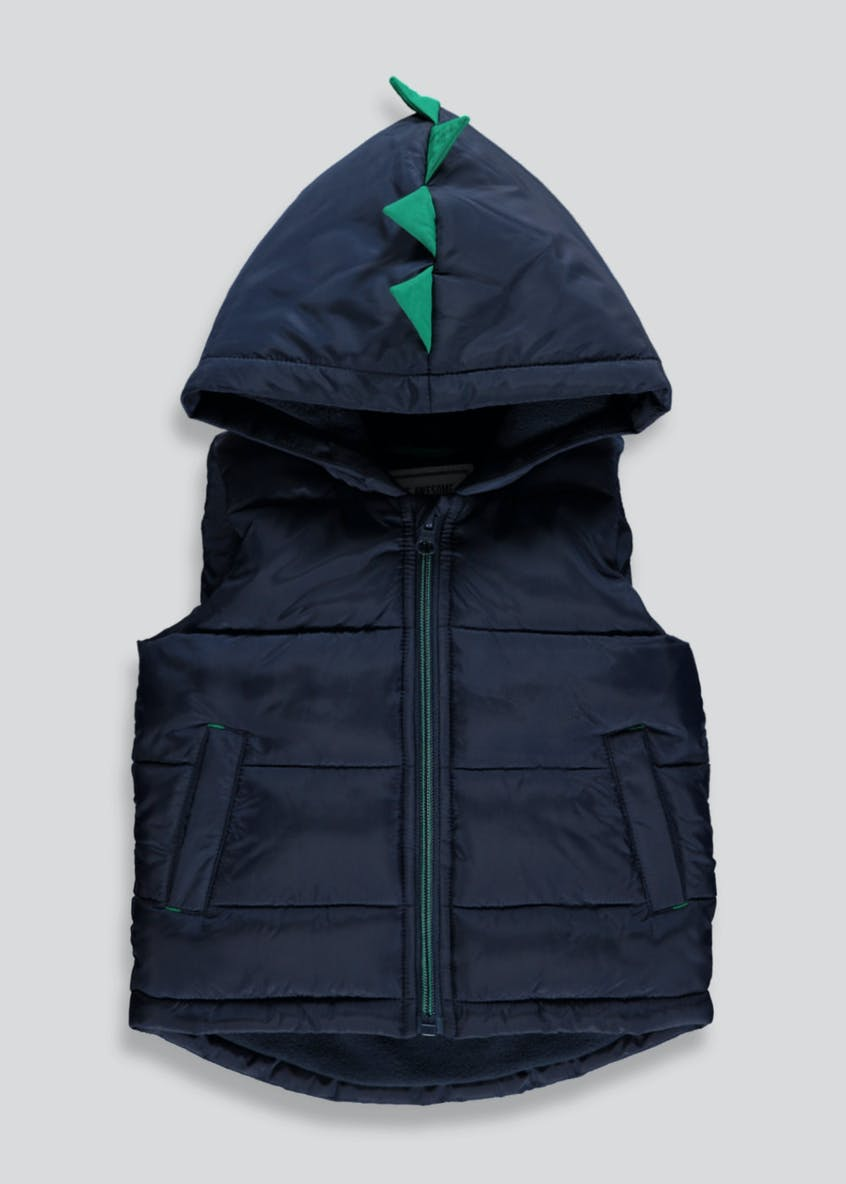Kids Dinosaur Fleece Lined Hooded Padded Gilet (9mths-6yrs)
