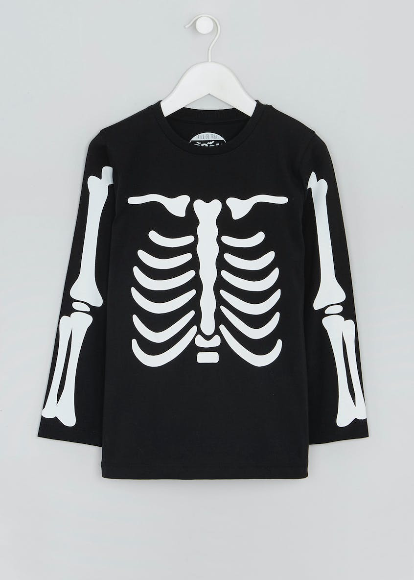 Kids Halloween Skeleton Print T-Shirt (4-13yrs)