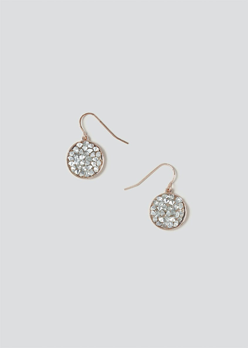 Encrusted Circle Drop Earrings
