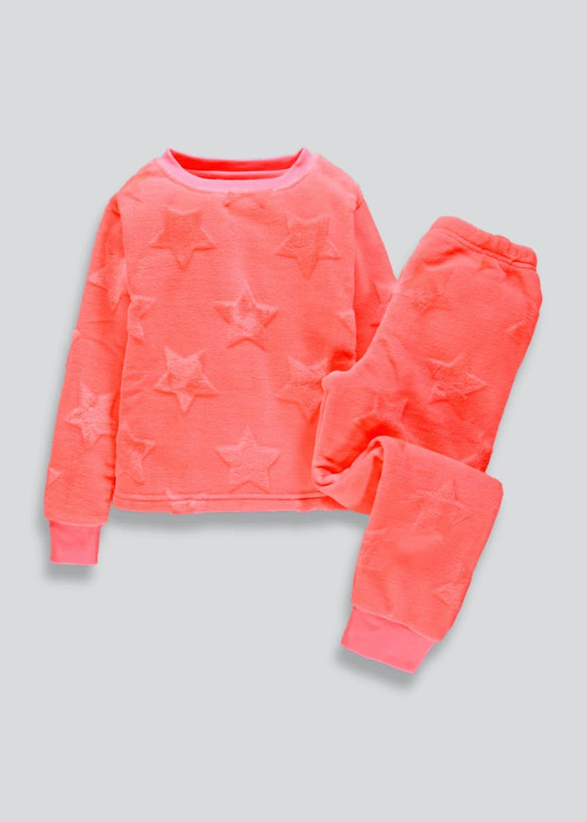 Girls Neon Star Fleece Pyjama Set (5-13yrs)