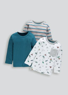 Boys 3 Pack Long Sleeve T-Shirts (6mths-5yrs)