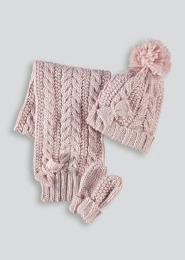 63ddbec3052 Girls Cable Knit Hat Scarf   Mittens Set (6mths-4yrs)