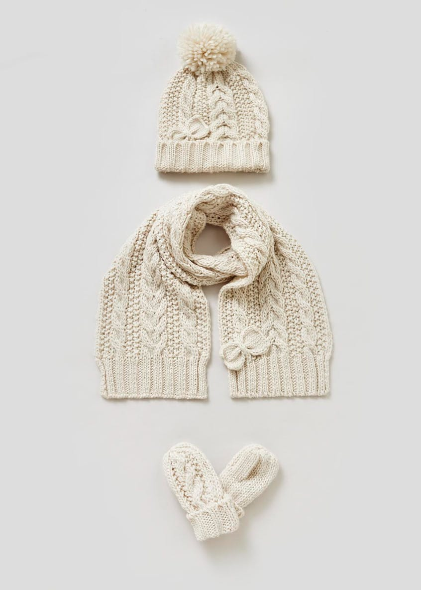 Girls Cable Knit Hat Scarf & Mittens Set (6mths-4yrs)