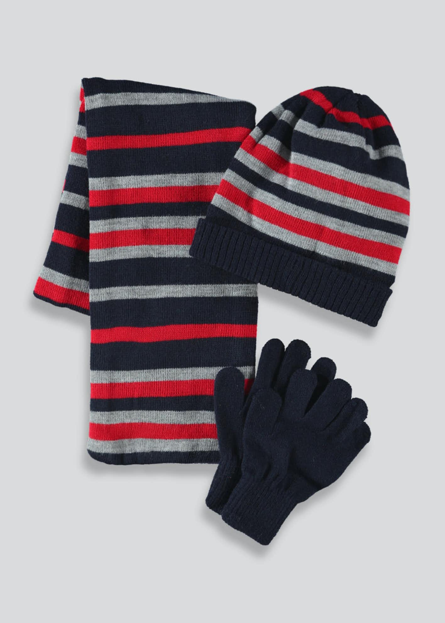 Kids Stripe Hat Scarf & Mittens Set (3-13yrs)