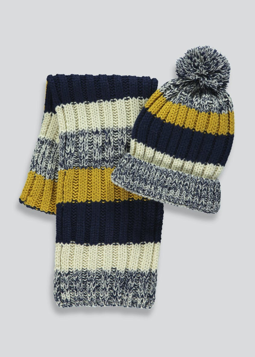 Kids Stripe Bobble Hat & Scarf (3-13yrs)