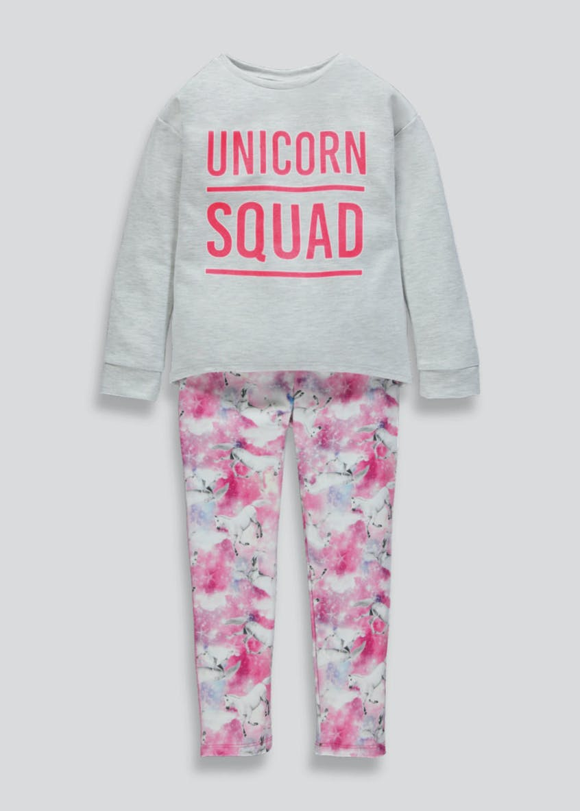 Girls Unicorn Squad Leggings & Sweatshirt (4-13yrs)