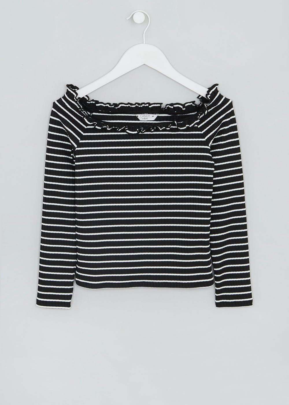 c1be8ce9fa33e4 Girls Candy Couture Stripe Bardot Top (9-16yrs) – Black – Matalan