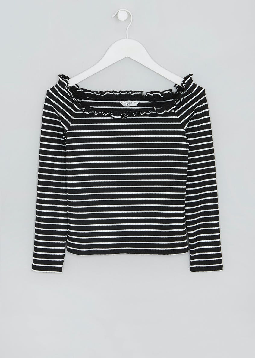 Girls Candy Couture Stripe Bardot Top (9-16yrs)