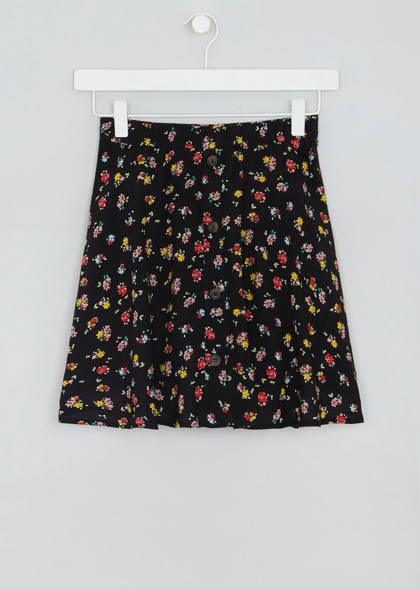 Girls Candy Couture Floral Button Skater Skirt (9-16yrs)