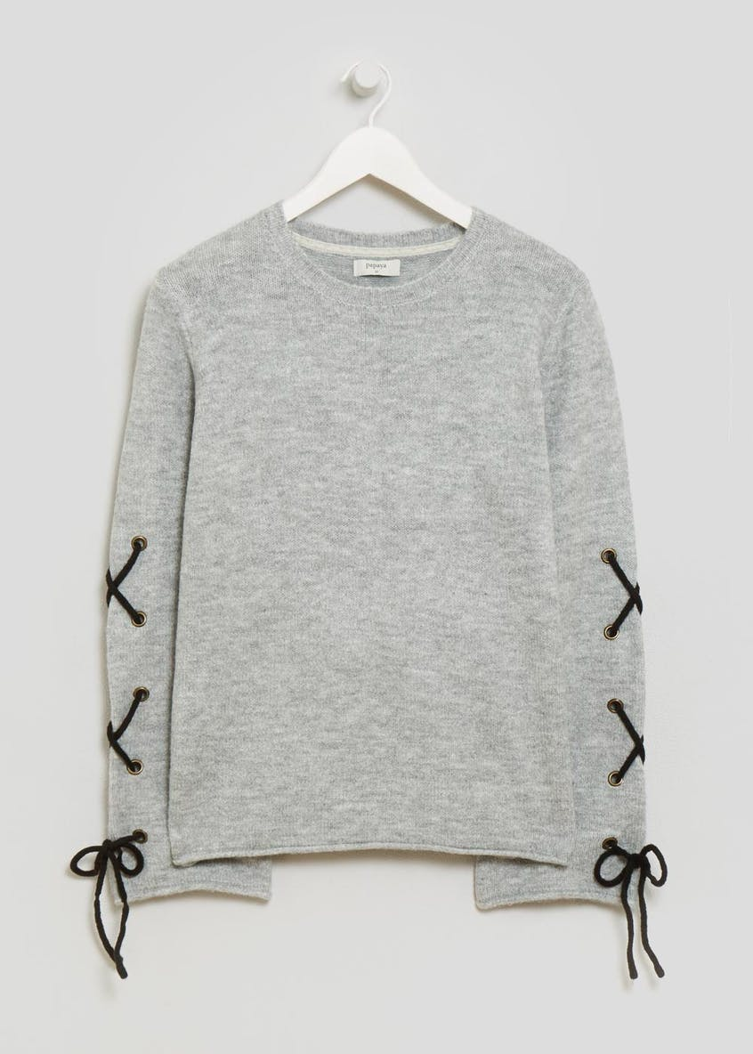 Eyelet Lace Up Bell Sleeve Jumper