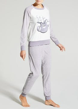 Sloth Slogan Fleece Lounge Set