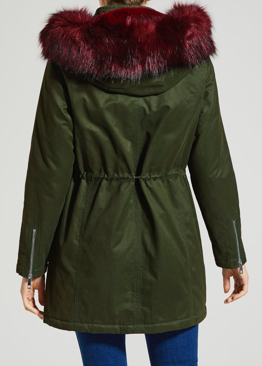 Contrast Faux Fur Hooded Parka