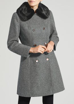 Faux Fur Collar Double Breasted Dolly Coat