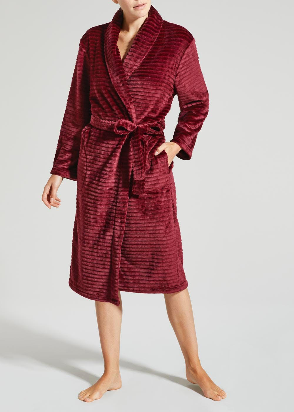 Ripple Textured Dressing Gown – Burgundy – Matalan