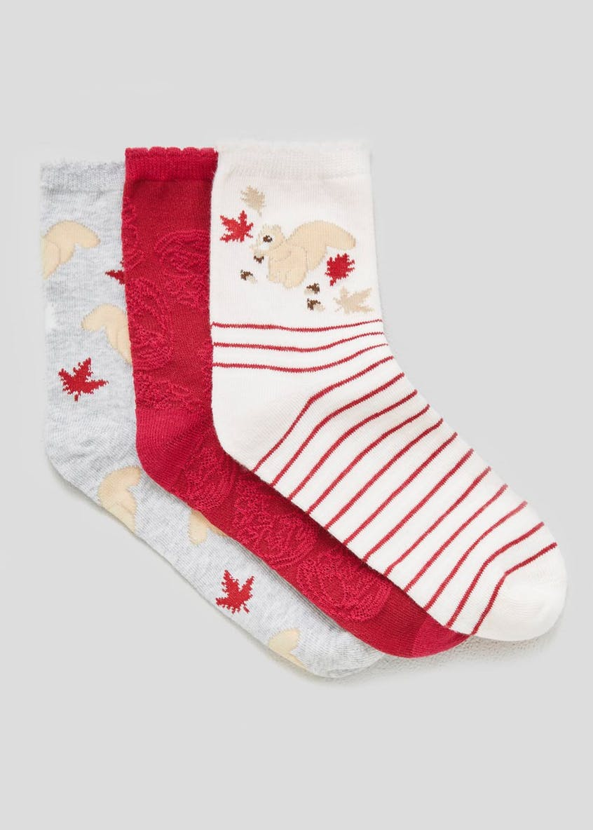 3 Pack Squirrel Socks