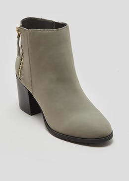 d35f7df1013 Zip Block Heel Ankle Boots
