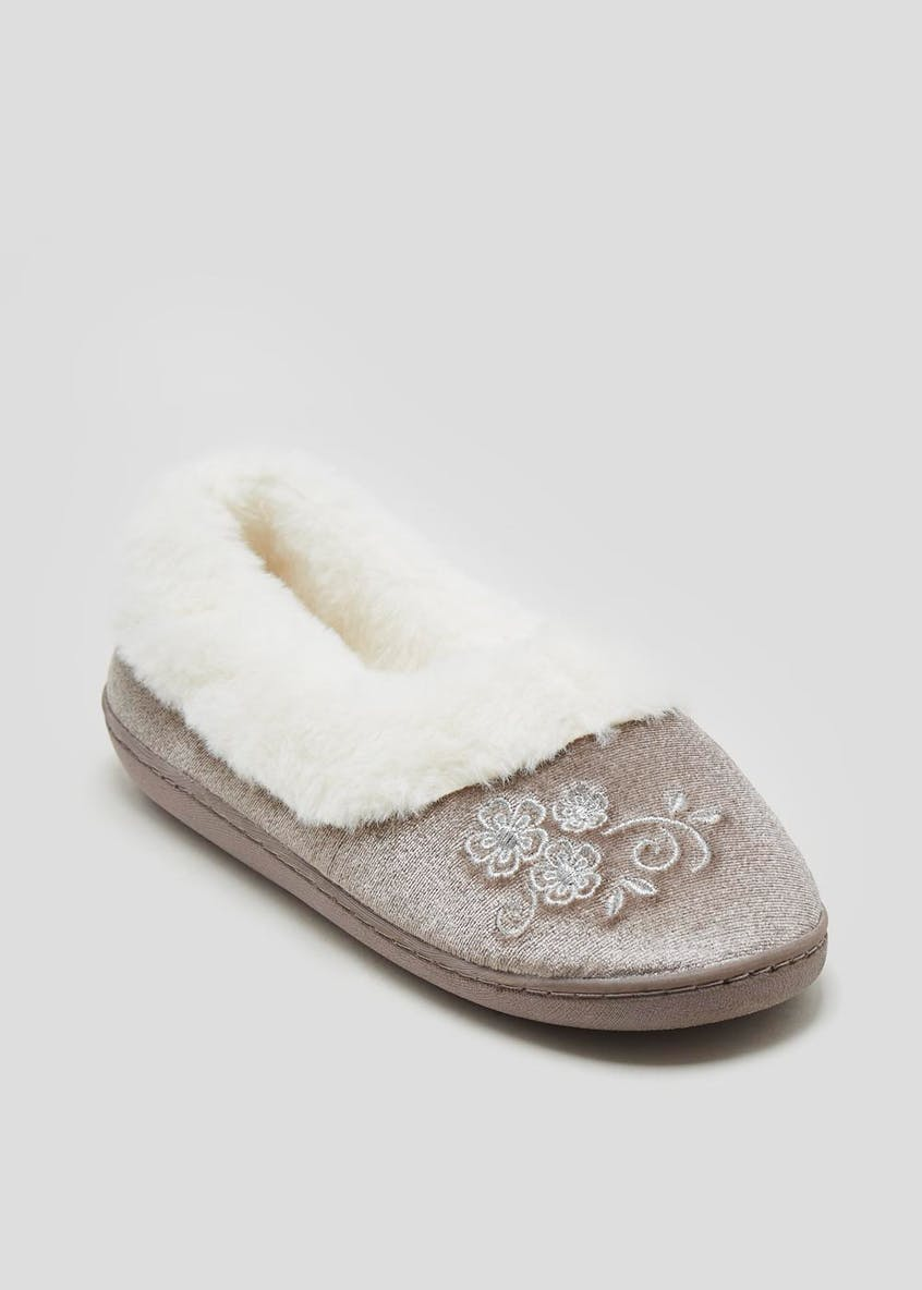 Embroidered Faux Fur Full Slippers