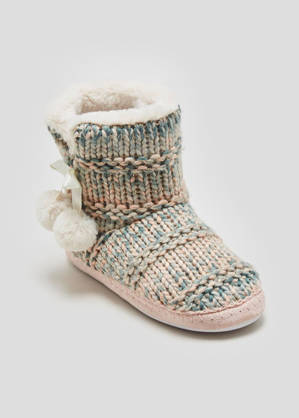 Ombre Knitted Slipper Boots Pastel Pink Matalan