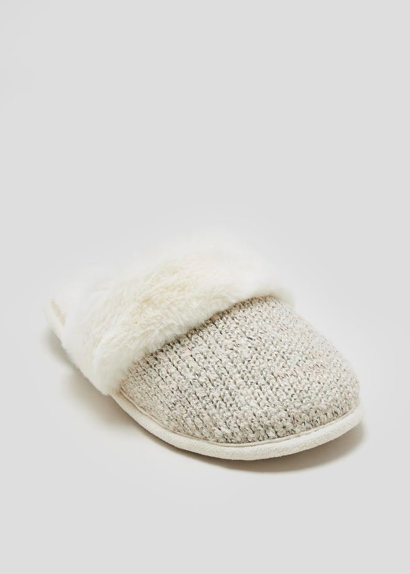 Faux Fur Trim Knitted Mule Slippers
