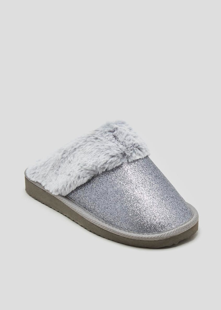 Faux Fur Trim Glitter Mule Slippers