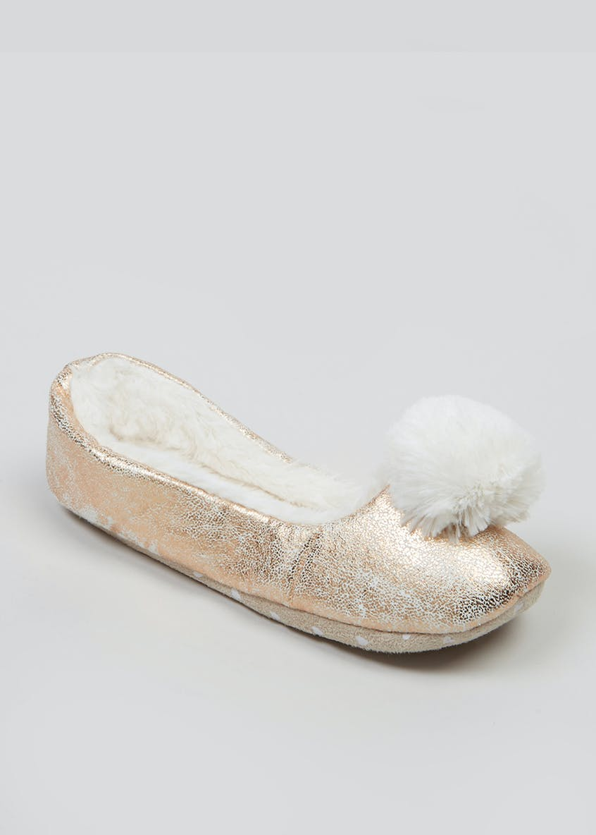 Metallic Pom Pom Ballet Slippers
