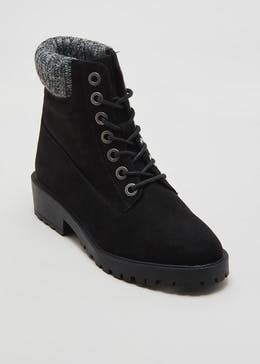 Knit Collar Lace Up Boots