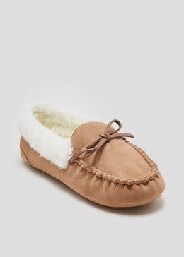 Faux Fur Lined Moccasin Slippers