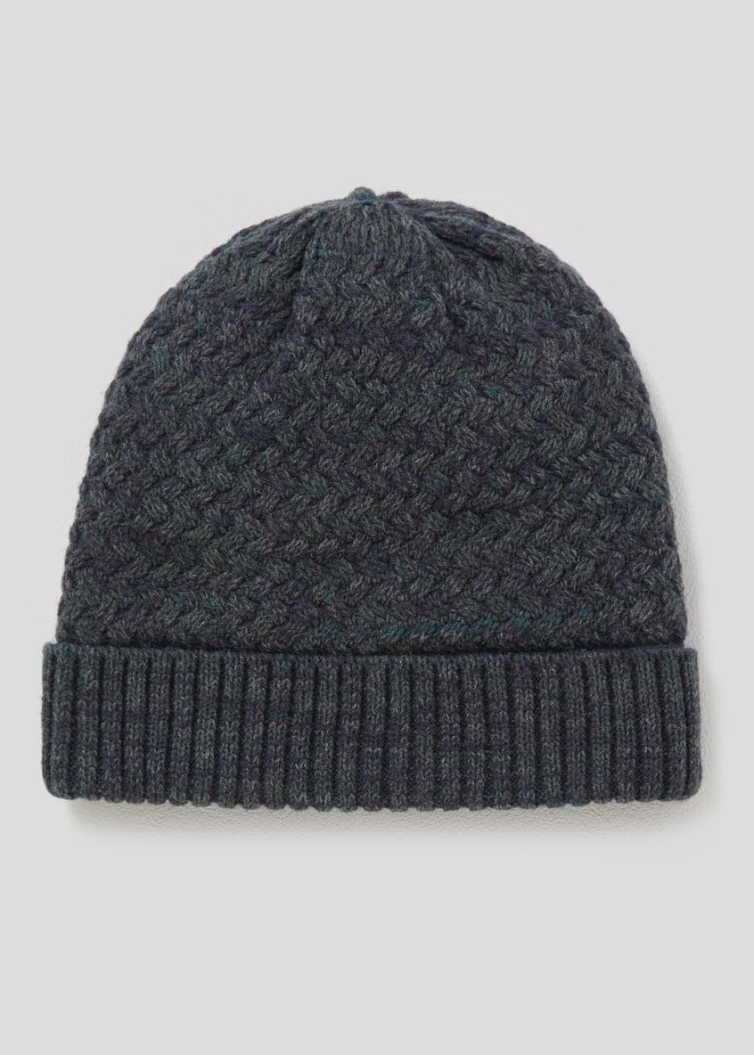 Textured Borg Lined Beanie Hat