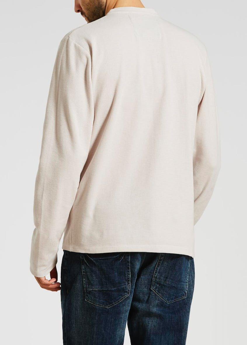 Morley Waffle Grandad Collar Long Sleeve Top